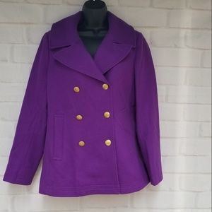 J. Crew Royal Purple Wool Pea Coat